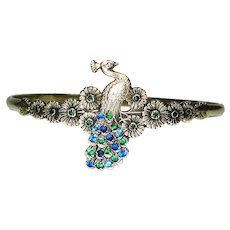 Art Nouveau Jeweled Ring and Bracelet Sterling Peacock