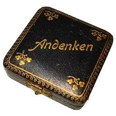 Victorian Andenken Keepsake / Remembrance Leather Gilt Jewelry Box