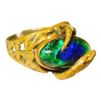 Art Nouveau Snake w Foiled Peacock Eye Glass Ring