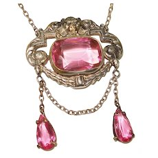 Winged Lion w Deep Pink Stones Regency Swag Necklace