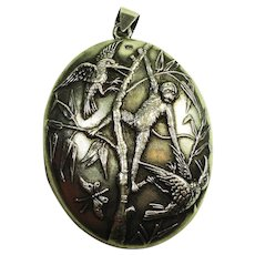 Rare 1880 Aesthetic Locket w Miniature Portrait Birmingham for Necklace