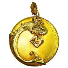 Huge Magical George Steere GNS Dragon & Moon Locket w Box