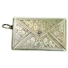 Victorian Sterling Chatelaine Dbl Stamp Case for Necklace
