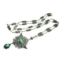 EX Long Ornate Arts & Crafts Sterling Persian Turquoise Necklace