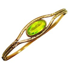 Fine Victorian Etched Peridot Glass RG Bracelet