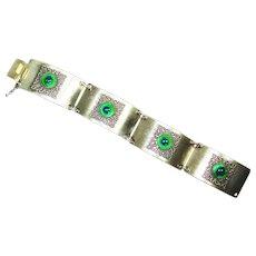 Foiled Peacock Eye Art Glass Filigree Bracelet