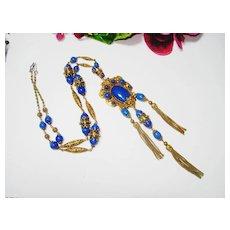 Fine Ornate Czech Jeweled Lapis Glass Lion Necklace