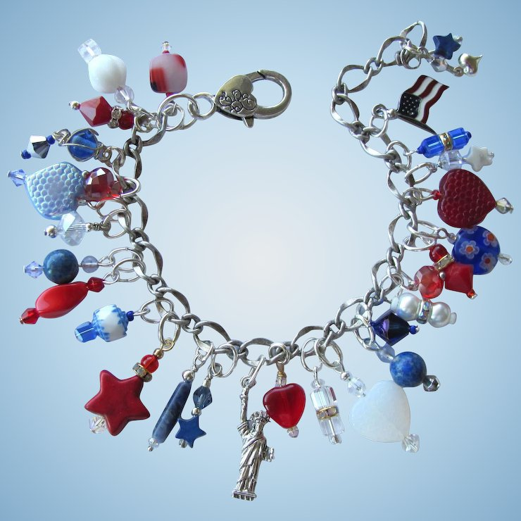 Red White And Blue Charm Bracelet With Statue Of Liberty Stars Hearts