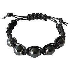 Men's Black Leather Bracelet with Hematite Beads size Large - Red Tag Sale Item