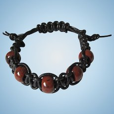 Men's Leather Shamballa Bracelet in Black with Mahogany Obsidian Beads