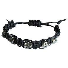 Men's Skull Bracelet on Black Leather – Stackable -- Medium to Large