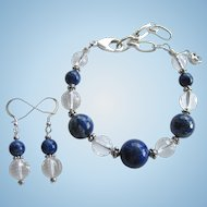 Lapis Lazuli and Rock Quartz Crystal Bracelet and Earrings with Hill Tribes Sterling Silver