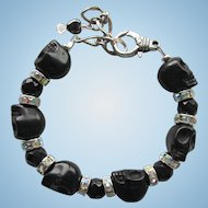 Black Skulls and Sparkling Rhinestones Gothic Bracelet with Matching Earrings