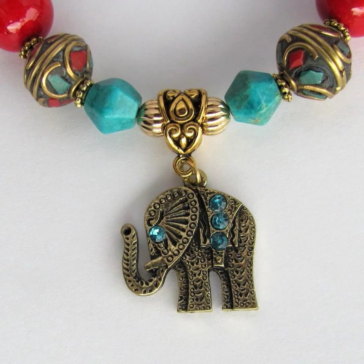 cec5400f3 Bracelet of Tibetan Mosaic and Turquoise Beads with Elephant Charms and Red  Accents