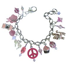 Charm Bracelet with Pink Charms and Crystals including Pink Ribbon – Cat – Cupcake – Convertible