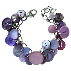 Charm Bracelet of Vintage Buttons in Shades of Purple