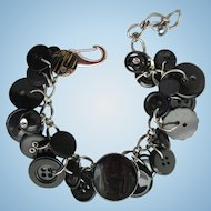 Charm Bracelet of Vintage Buttons in Black with Rhinestone Accents