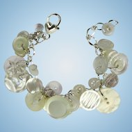 Charm Bracelet of Vintage Buttons in White with Rhinestone and Iridescent Buttons