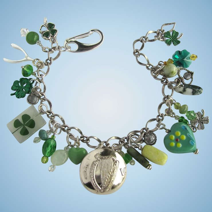 Charm Bracelet With Good Luck Charms Shamrocks Celtic Harp
