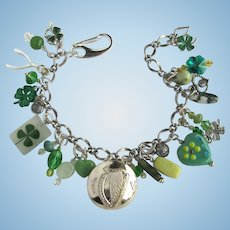 Charm Bracelet with Good Luck Charms – Shamrocks – Celtic Harp Button – Wishbone – Crystals