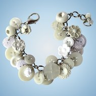 Charm Bracelet of Vintage Buttons in White with Flower and Rhinestone Buttons
