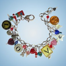 Charm Bracelet with Love Charms and Letters – Hearts – Crystals – Earrings