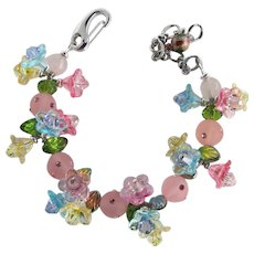 Flower Bracelet with Trios of Small Pastel Flowers – Sparkling Crystals – Matching Earrings