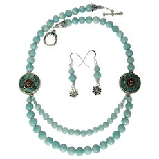 Amazonite Two-Strand Necklace with Mosaic Flower Beads of Turquoise and Coral – Matching Earrings