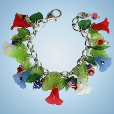 Flower Charm Bracelet with Red, White, and Blue Lilies – Flags – Crystals