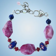 Fuchsia Bracelet of Crazy Lace Agate Nuggets with Blue and Pink Flower Beads