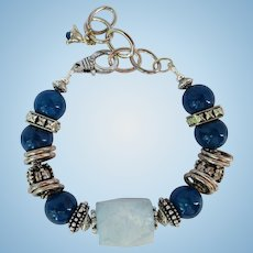 Bracelet in Shades of Blue and Silver with Large Aquamarine Focal