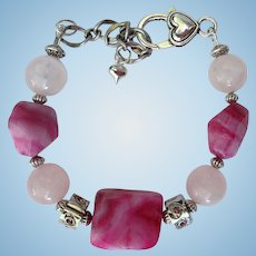 Pink and Fuchsia Bracelet of Rose Quartz and Crazy Lace Agate