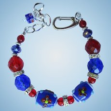 Red, White, and Blue Bracelet with Flower Beads and Sparkling Rondelles