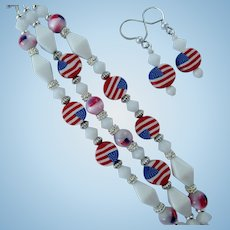 Three-Strand Bracelet of Flags and White Beads with Flag Earrings