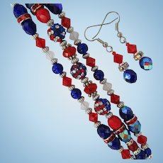 Red, White, and Blue Three-Strand Bracelet with Swarovski Crystals and Matching Earrings