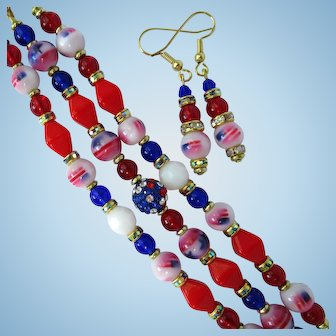 Red, White, and Blue Three-Strand Bracelet with Flag and Star Beads and Earrings