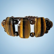 Tiger Eye and Leather Bracelet with Large Tabular Beads
