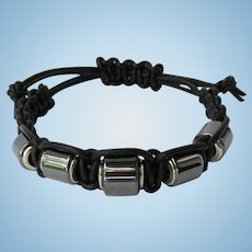 Men's Black Leather Bracelet with Hematite Beads size M/L