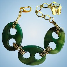 Green Agate Bracelet with Chain Links and Butterfly