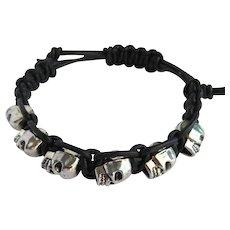 Men's Black Leather and Skull Bracelet - Adjustable