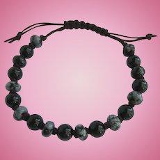 Men's Bracelet of Snowflake Obsidian and Black Onyx