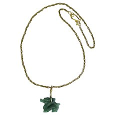 Carved Dragon in Green Aventurine on Rope Chain
