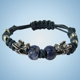 Leather Bracelet with Facing Dragons – Blue Leather Band – Sodalite Accents