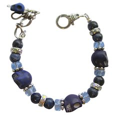 Bracelet of Blue Skulls and Sodalite Beads with Celestial Crystal and Rhinestone Accents