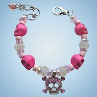 Bracelet of Pink Skulls with Celestial Crystal Beads and Swarovski Accents with Matching Earrings