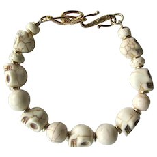 Men's Skull Bracelet of Bone-Colored Skulls and Magnesite Beads