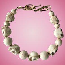 Men's Skull Bracelet of Bone-Colored Skulls and Magnesite Beads