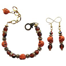 Orange Skull Bracelet with Sparkling Rondelles and Iridescent Fire Polished Beads with Earrings
