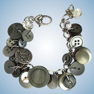 Charm Bracelet of Vintage Buttons in Shades of Silver and Grey
