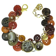 Charm Bracelet with Victorian Button Focal and Vintage Buttons in Autumn Colors
